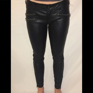 Free People Leather Look Pants with Ankle Zippers